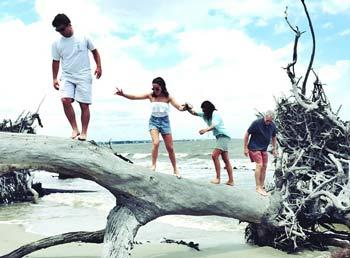 Family of four playing on a fallen tree trunk