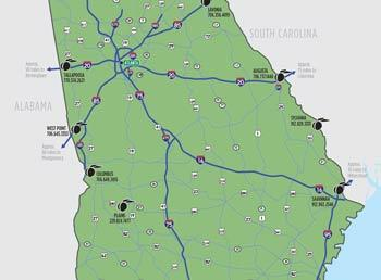 Highway map of GA with indicators of the 11 visitor centers