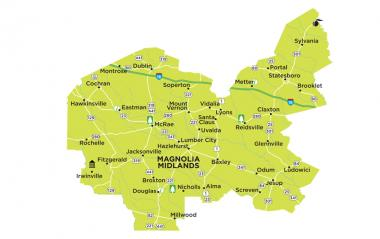 Magnolia Midlands region map