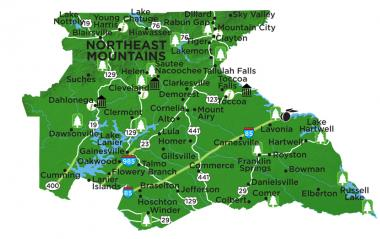 Northeast Georgia Mountains region map