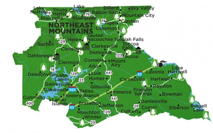 Map Of Georgia Mountain Cities.2018 Northeast Georgia Mountains Region County Economic Impact